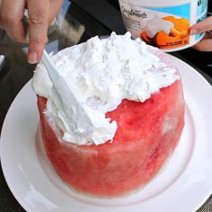 Watermelon cake for canada day & of july watermelon carving easy, w 4th Of July Watermelon, Watermelon Cake, Easy Desserts, Delicious Desserts, Dessert Recipes, Summer Desserts, Summer Recipes, Watermelon Carving Easy, Yummy Treats
