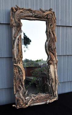 Driftwood Mirror Handmade OOAK Beach Decor Home Decor Cottage Driftwood Wall Decor Rustic Mirror Coastal Wall Art (Made To Order)