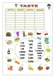 English teaching worksheets: taste