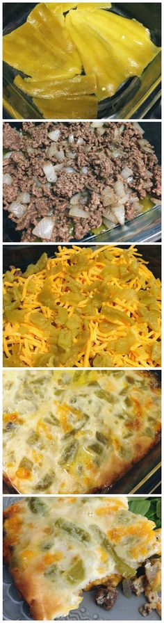 Chile Rellenos Casserole- reminds me of bisquick cheeseburger pie with chiles. Next time, I will make the dough recipe that way. Just threw in half a can of chiles (was all we had) and was pretty good. Maybe add some seasoning to the beef too? Mexican Dishes, Mexican Food Recipes, Beef Recipes, Cooking Recipes, Healthy Recipes, Dog Recipes, Hamburger Recipes, Potato Recipes, Chicken Recipes