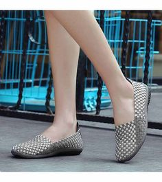 Women's #grey casual #SlipOn shoe sneakers check design, weave, casual, leisure, summer occasions