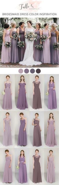 shades of lavender purple mismatched tulle bridesmaid dresses