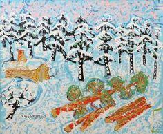 Uno Vallman (1913-2004): Trädfällning i vinterlandskap