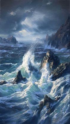 Wave Art, Seascape Paintings, Oil Paintings, Ocean Waves, Landscape Art, Landscape Paintings, Aesthetic Art, Scenery, Ocean Artwork