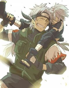 Young Kakashi and his father White Fang. (Naruto).