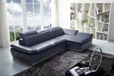 Shop a great selection of J&M Furniture 1799 Full Blue Italian Leather Sectional Sofa With Adjustable Headrests. Find new offer and Similar products for J&M Furniture 1799 Full Blue Italian Leather Sectional Sofa With Adjustable Headrests. Sectional Sofa With Chaise, Leather Sectional Sofas, Sofa Couch, Modern Sectional, Couches, Fabric Sectional, Sleeper Sofas, Navy Blue Leather Sofa, Best Leather Sofa