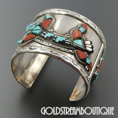 Rayland Patty Edaakie Zuni Native American Museum Piece Gemstone Inlay Kachina Cuff Bracelet