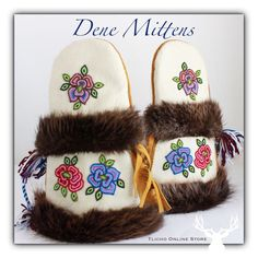 Mittens made by a Tlicho Dene elder. Sewing Leather, Leather Craft, Beaded Flowers, Crochet Flowers, Beading Patterns, Beading Ideas, Indian Blankets, Beaded Moccasins, Beadwork Designs