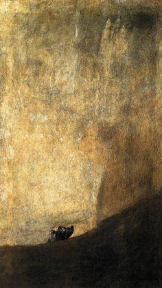 Francisco Goya, 1819-23, The Dog, romanticism, Museo de Prado - my favorite Goya. A thousand stories.