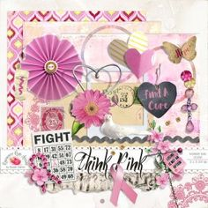 Think Pink Mini Kit by Raspberryroaddesigns - free mini kit matching the collection - #pinkoctober #octobrerose #cancer #digitalscrapbooking #printable