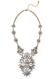 Gold chain link statement necklace features rhinestone clusters throughout. Pair this piece with semi-sheer blouse for a chic look.