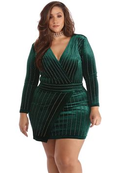 1d8b2d0f98e Plus Cassie Emerald Velvet Wrap Dress Big Girl Fashion