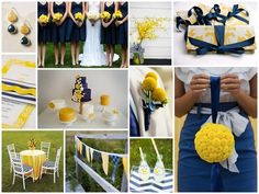 yellow + navy patterned board created by Oh Lovely Day for Best Wedding Sites Mag