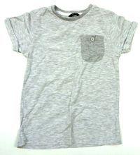 Šedé melírované tričko s kapsičkou zn. George