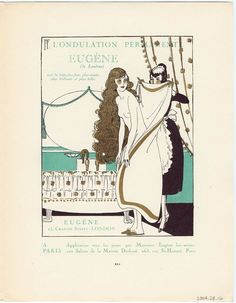 """l'Ondulation Permanente Eugène,"" advertisement from Gazette du Bon Ton, Volume 1, No. 3, p. XXI  French, April 1920"