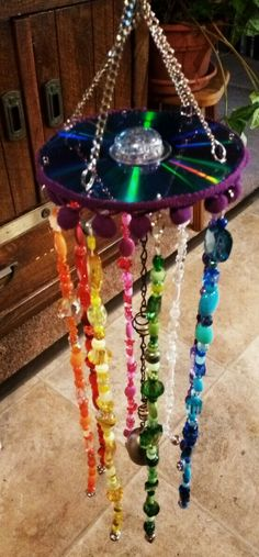 Boho Gypsy Windcatcher(Altered CD with beads)- check out my DIY tutorial on my Youtube channel :)