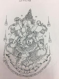 Yantra Tattoo, Ganesha Tattoo, Sak Yant Tattoo, Khmer Tattoo, Thai Tattoo, Thailand Tattoo, Thailand Art, Top Tattoos, Body Art Tattoos