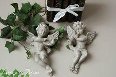 Cottage et Patine Paire angelots à accrocher ref 01