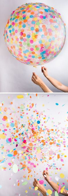 The perfect addition to your next celebration: a colorful confetti balloon if it pops they will be confetti everywhere my birthdays soon ideas for party ☀️☀️ Xx Wedding Exits, Diy Wedding, Wedding Ideas, Spring Wedding, Wedding Favors, Party Favors, Balloon Surprise, Clear Balloons With Confetti, Wedding Confetti