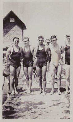 Team Swimmers At The Beach 1930