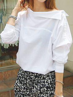 White Horizontal Neck Button Side Blouse