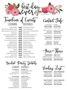 Editable WORD Template – Best Day Ever (floral) – Wedding Day Schedule, Checklist, Organizer Document – Wedding For My Life Wedding Day Checklist, Wedding Day Timeline, Wedding Planner, Wedding Checklists, Wedding Tips, Wedding Coordinator, Reception Timeline, Wedding Venues, Reception Entrance