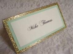 Items similar to Gold Glitter & Mint Tented Place Cards, Escort cards, Name Cards - on Etsy Nonprofit Fundraising, Fundraising Ideas, Wedding Shower Invitations, Name Cards, Color Card, Spring Wedding, Gold Glitter, Wedding Table, Wedding Colors