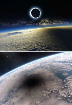 What a total lunar eclipse looks like from space :D...  Sometimes, I think of the Sun and the Moon as lovers, who rarely meet, always chase, and almost always miss one another. But once in a while they do catch up, and they kiss and the world stares in awe of their eclipse.....A wonderful analogy :)
