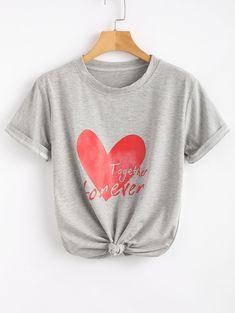 Cotton Heart Print Slogan Tee LIGHT GRAY: Tees L | ZAFUL