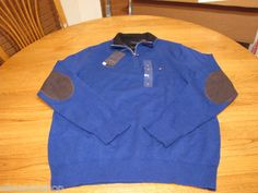Mens Tommy Hilfiger blue 434 NEW sweater shirt lux cotton XL zip pull over NWT