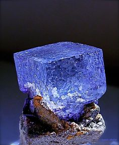 A clear gemmy blue Fluorite crystal on matrix from a mine in China, it's about the size of a sugar cube.