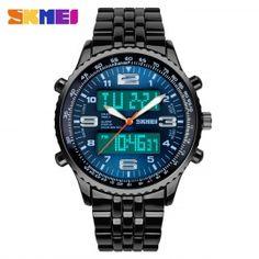 SKMEI 1032 pánského ditial analogové náramkové hodinky - modrá + černá (1    CR2025) a11f0274998
