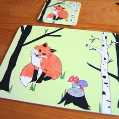 Tree Fox Placemat and Coaster Set