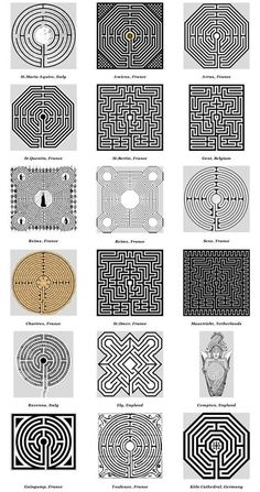 Church & Cathedral Labyrinths - Graphics This pattern shows different patterns of labyrinths. It shows ways that I can incorporate different patterns to the floor. Labyrinth Design, Labyrinth Garden, Labyrinth Maze, Doodles Zentangles, 3d Templates, Maze Design, Meditation Garden, Geometric Art, Art Plastique