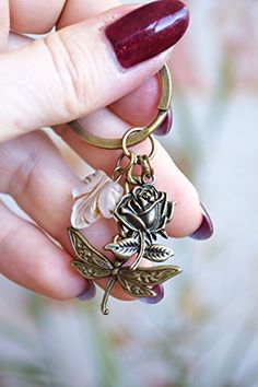 Dragonfly keychain Vintage Beaded keyring Charm Cute Keychains bronze summer accessories Charms boho bohemian rose flower leaf Flower Blossom floral metal best friend gift Nature lover gift