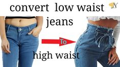 Thrift flip convert low waist/rise jeans to ripped high waist/rise Diy denim/reuse recycle transform Thrift flip convert low waist/rise jeans to ripped high waist/rise Diy d. Jeans Refashion, Diy Clothes Refashion, Diy Clothes Jeans, Reuse Clothes, Low Waist Jeans, High Waist, Diy Kleidung Upcycling, Thrift Store Diy Clothes, Thrift Store Fashion