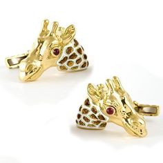 David Webb - Giraffe Cufflinks in Yellow Gold & Enamel with Rubies.