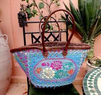 Moroccan Ibiza mand blauw geborduurd met diverse kleuren
