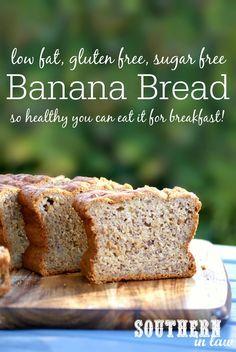 Low Fat Banana Bread Recipe - low fat, gluten free, low calories, sugar free, healthy, clean eating friendly, breakfast banana bread