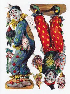 Victorian Die Cut Paper Circus Clown Magic Party Scrap