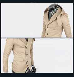 Casual Fit Slimming Hooded Khaki and Black Suiting Blazer For Men (KHAKI,M) China Wholesale - Sammydress.com