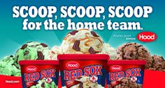 Awesome banners behind the Home Plate in Fenway for Hp Hood Red Sox Ice Cream.  More: http://dbrboston.com/#work/hood_ice_cream/