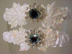 wedding garter set Anastasia Crystal and Pearl by PetereneDesign, $40.00