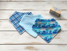 Bandana Bibs / Dribble Bibs / Set of 3 / Ocean Collection / Sharks Dribble Bibs, Bandana Bib, Enabling, Bandanas, Shark, Casual Shorts, Boutique, Clothing, Fabric