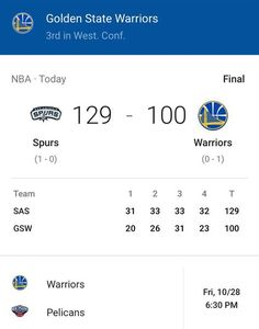 WarriorsLet's get things rolling for Oct 28 gameOk? Thanks