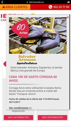 Iberia cards para tienda online o webshop www.zapatosparatodos.es