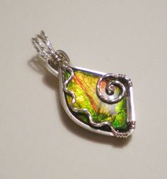 AMMOLITE sterling silver wire wrapped pendant by EmBound on Etsy, $60.00