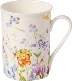 IHR Butterflies and Blossoms white Garden Floral Bone China Mugs BOB727590