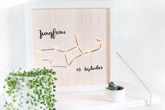 Mit dieser Anleitung kannst du dir ganz einfach aus einem Ikea Ribba Bilderrahmen ein beleuchtetes Sternzeichen Bild basteln.