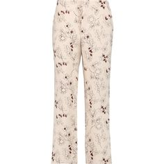 Marni Cropped floral-print wool-crepe straight-leg pants ($230) ❤ liked on Polyvore featuring pants, beige, high-waist trousers, cropped pants, high waisted pants, high waisted trousers and high waisted cropped pants